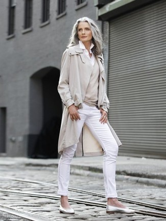Fashion for Women Over 50: What To Wear: For a smart casual look, try teaming a beige trenchcoat with white skinny pants — these two items work really nice together. Feeling experimental? Jazz things up by slipping into silver leather ballerina shoes.
