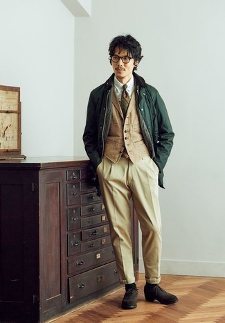How to Wear an Olive Print Tie For Men: Team a dark green barn jacket with an olive print tie to look like a true dandy at all times. All you need is a nice pair of dark brown suede brogues to finish off your getup.