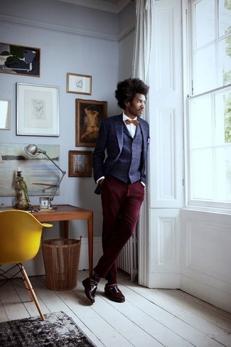 How to wear: burgundy chinos, white dress shirt, navy check waistcoat, navy check blazer