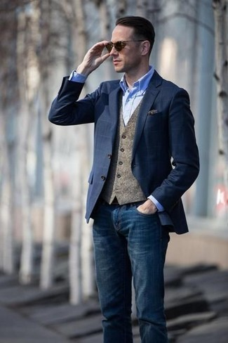 How to wear: navy jeans, light blue chambray dress shirt, brown wool waistcoat, navy check blazer