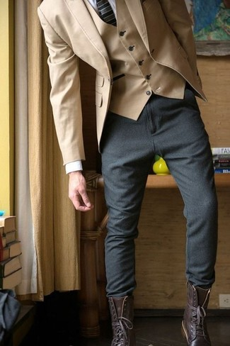 How to wear: charcoal wool chinos, white dress shirt, tan waistcoat, tan cotton blazer