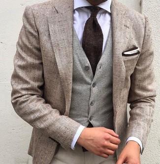 How to wear: beige dress pants, white dress shirt, grey wool waistcoat, beige linen blazer