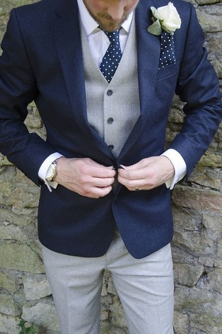How to wear: grey dress pants, white dress shirt, grey waistcoat, navy blazer