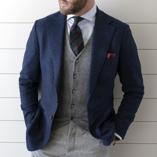 How to wear: grey wool dress pants, white vertical striped dress shirt, grey waistcoat, navy wool blazer
