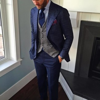 How to wear: navy wool dress pants, light blue dress shirt, grey waistcoat, navy check blazer