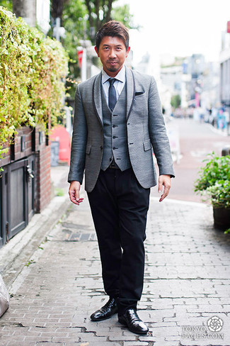 How to wear: black dress pants, white dress shirt, grey waistcoat, grey blazer