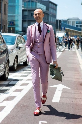 How to wear: pink dress pants, white dress shirt, pink waistcoat, pink blazer