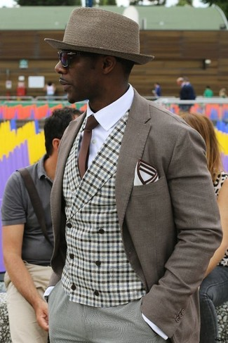 How to wear: grey dress pants, white dress shirt, brown gingham waistcoat, brown blazer