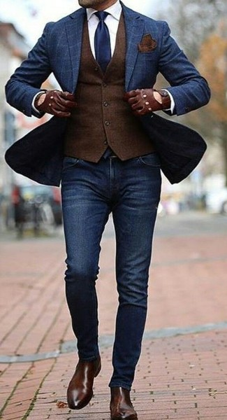 How to wear: navy skinny jeans, white dress shirt, dark brown wool waistcoat, navy check blazer
