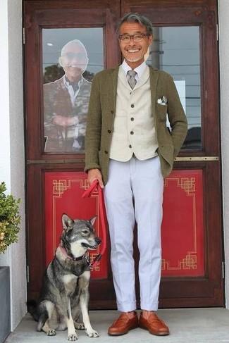 How to wear: grey chinos, white dress shirt, beige wool waistcoat, olive wool blazer