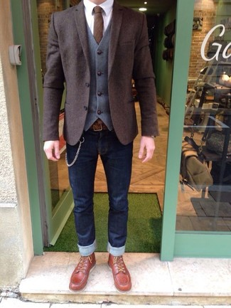 How to wear: navy skinny jeans, white dress shirt, grey wool waistcoat, dark brown wool blazer