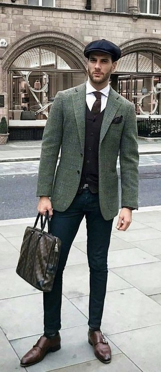 How to wear: black chinos, white dress shirt, black waistcoat, dark green check wool blazer