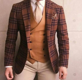 How to wear: beige chinos, white dress shirt, tobacco waistcoat, brown plaid wool blazer
