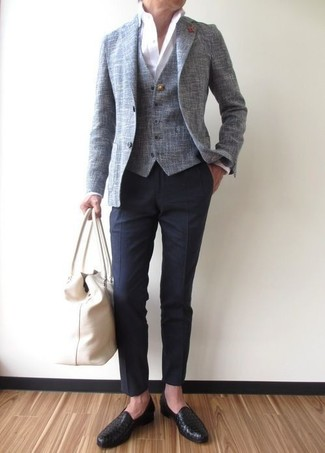 How to wear: navy dress pants, white dress shirt, grey waistcoat, grey blazer