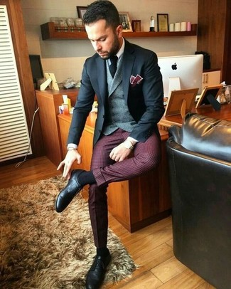 How to wear: burgundy check dress pants, white dress shirt, grey wool waistcoat, black blazer