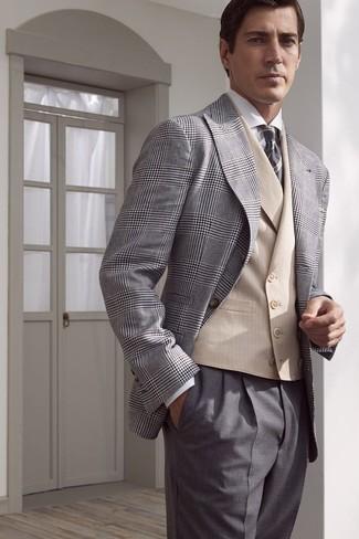 How to wear: grey dress pants, white dress shirt, beige waistcoat, grey plaid blazer