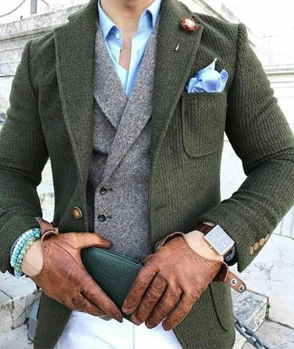 How to wear: white chinos, light blue dress shirt, grey wool waistcoat, dark green wool blazer