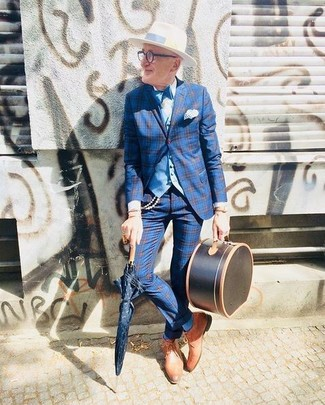 How to Wear a Light Blue Waistcoat: A light blue waistcoat and blue plaid dress pants are worth being on your list of essential menswear items. Feel somewhat uninspired with this outfit? Let tan leather derby shoes mix things up.
