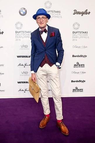 How to wear: white chinos, white dress shirt, burgundy waistcoat, navy blazer