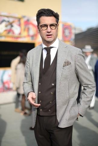 How to wear: dark brown dress pants, white dress shirt, dark brown waistcoat, beige check blazer