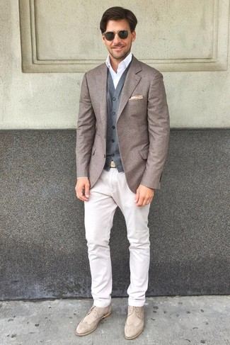 How to wear: white chinos, white dress shirt, grey wool waistcoat, brown wool blazer