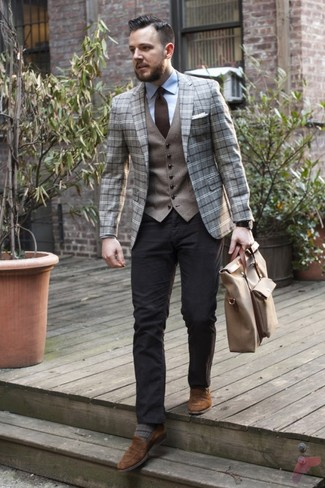 How to wear: black chinos, light blue dress shirt, grey wool waistcoat, grey plaid wool blazer