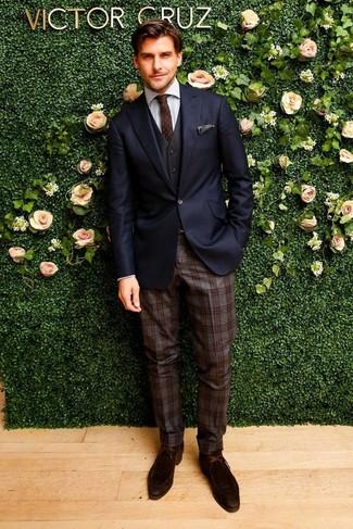 How to wear: dark brown plaid wool dress pants, grey dress shirt, black waistcoat, navy blazer