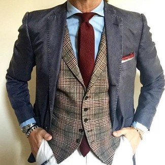 How to wear: white chinos, light blue dress shirt, olive plaid wool waistcoat, charcoal cotton blazer