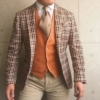 How to wear: beige dress pants, white dress shirt, orange wool waistcoat, orange plaid wool blazer