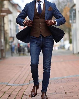 How to wear: navy skinny jeans, white dress shirt, dark brown waistcoat, navy check blazer