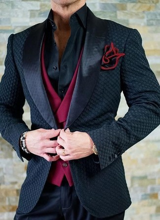 How to wear: black dress pants, black dress shirt, red waistcoat, black satin blazer