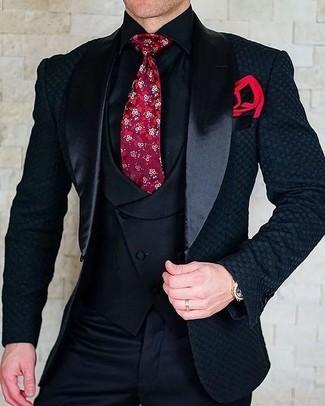 How to wear: black dress pants, black dress shirt, black waistcoat, black satin blazer