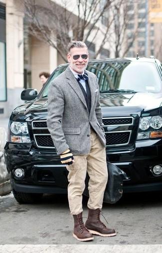 How to wear: beige cargo pants, white dress shirt, black waistcoat, grey wool blazer
