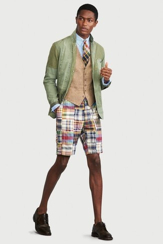 How to wear: multi colored shorts, light blue vertical striped dress shirt, tan waistcoat, mint cotton blazer
