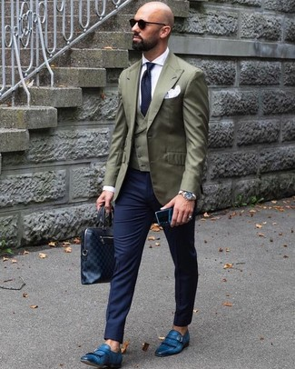 How to wear: navy dress pants, white dress shirt, olive waistcoat, olive blazer