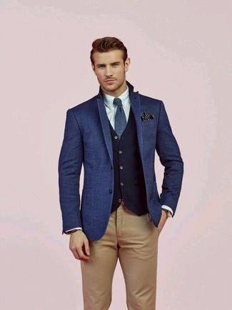 How to wear: khaki chinos, white dress shirt, navy wool waistcoat, blue wool blazer