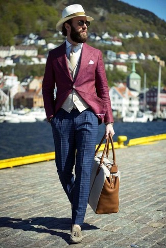 How to wear: navy check dress pants, white dress shirt, beige waistcoat, burgundy blazer