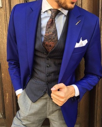 How to wear: grey dress pants, light blue vertical striped dress shirt, black vertical striped waistcoat, violet blazer