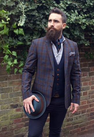 How to wear: black chinos, white dress shirt, navy waistcoat, navy plaid wool blazer