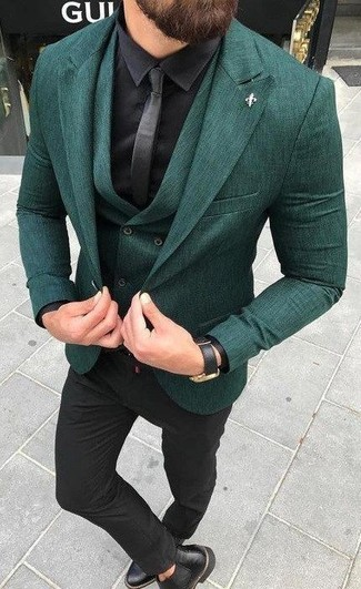 How to wear: black dress pants, black silk dress shirt, dark green waistcoat, dark green blazer