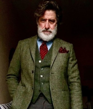 How to wear: dark brown wool dress pants, light blue dress shirt, olive wool waistcoat, olive herringbone wool blazer