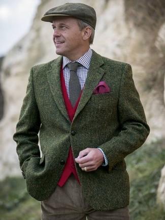 How to wear: brown corduroy chinos, white and red and navy gingham dress shirt, red wool waistcoat, olive herringbone wool blazer