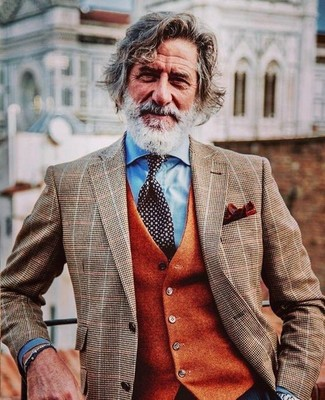 How to Wear a Brown Check Blazer For Men: Teaming a brown check blazer with an orange wool waistcoat is a smart pick for a sharp and classy outfit.