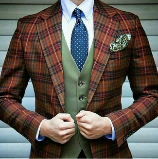 How to wear: blue polka dot tie, white dress shirt, olive wool waistcoat, tobacco plaid wool blazer