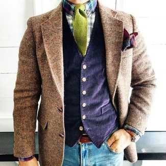 How to wear: blue skinny jeans, multi colored plaid dress shirt, navy corduroy waistcoat, brown wool blazer