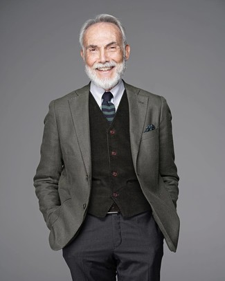 How to wear: charcoal dress pants, white dress shirt, black wool waistcoat, olive wool blazer