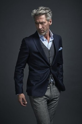How to wear: grey wool dress pants, light blue dress shirt, grey wool waistcoat, navy blazer