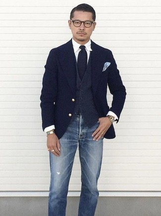 How to wear: blue ripped jeans, white dress shirt, charcoal wool waistcoat, navy wool blazer