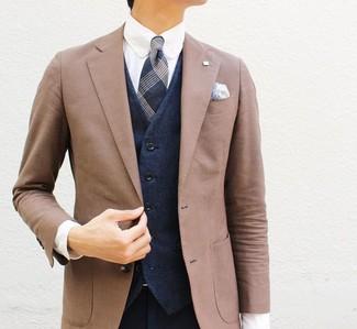 How to wear: navy dress pants, white dress shirt, navy waistcoat, brown blazer