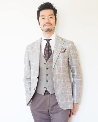 How to wear: grey chinos, white dress shirt, beige waistcoat, beige check blazer